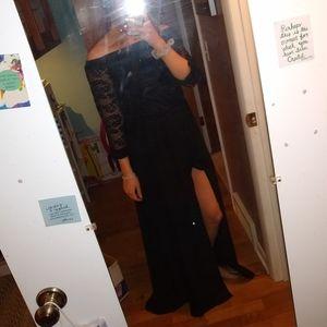 Black lace romper dress